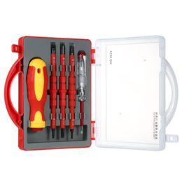 Juego de destornilladores de precisión online-Juego de destornilladores aislados con herramientas magnéticas de 500V con brocas ranuradas magnéticas y kit de herramientas de reparación de trabajo eléctrico de la pluma de prueba