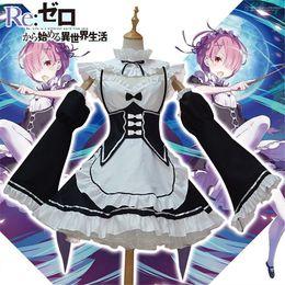 2019 disfraz de carneros Anime cosplay vestido Re: cero Kara Hajimeru Isekai Seikatsu vida en un traje de Cosplay de Halloween Mundial Ram Rem vestido de camarera diferente rebajas disfraz de carneros