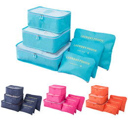 Cubos duplos on-line-Duplo zíper Viajantes Waterproof Bolsas Men Feminino Nylon de bagagem embalagem bolsas Cube Bag Underware Bra saco de armazenamento Organizer 6PCS PACK
