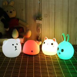 babytier nachttischlampen Rabatt Touch silikon led nachtlicht usb wiederaufladbare baby kinder kinder geschenk tier cartoon lampe nacht schlafzimmer wohnzimmer q190611