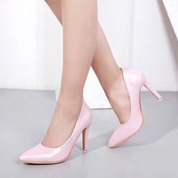 Eleganti scarpe beige online-Moda donna elegante pelle beige Pu punta a punta a spillo tacco alto Walking Pump calzature da donna calzature da lavoro