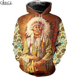 Chandails indiens en Ligne-CLOOCL 2020 Fashion Heas Hoodies Native Indian Chief 3D Imprimé Sweat à capuche Harajuku Streetwear Streetwear Unisexe Casual Pulls à capuche Manteaux