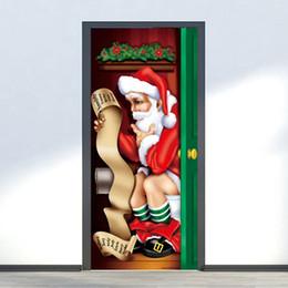 decorazioni naturali della natura Sconti 2pcs / set decorazioni natalizie per la casa Babbo Natale modello stampa porta adesivo Home Decor Navidad Wall Sticker
