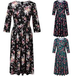 2019 robes de femmes minces style chinois été et automne imprimé femmes taille haute Robe Afficher Svelte Fleur dentelle mi-longue robe jarretelle Yof520