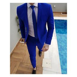 Vestido de jantar prateado on-line-Royal Blue Mens Terno Vestido De Festa Terno Elegante Jantar Smoking De Casamento Smoking Terno De Baile (Jaqueta + Calça + Gravata)