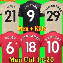 2019 maglie di lyon Thailandia FC Manchester United soccer jersey football shirt maglia da calcio 2019 2020 POGBA LINGARD LUKAKU RASHFORD MARTIAL maglia da calcio UtD 18 19 20 uniformi Maglie da uomo
