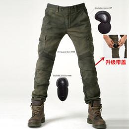 pantalones vaqueros modelos hombres Rebajas 2019 Nuevos modelos de jeans de montar en motocicleta Komine pantalones de otoño pantalones protectores 06 negro verde para enviar equipo de protección para hombres