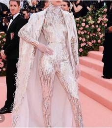 Vestido de noche Yousef aljasmi Labourjoisie Zuhair murad Funda Cuello alto Manga larga Lentejuelas de lentejuelas blancas Vestido de dos piezas Vestido largo desde fabricantes