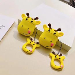 Fone de ouvido kawaii on-line-Para apple airpods 1/2 case bonito dos desenhos animados girafa fone de ouvido casos para apple airpods 2 kawaii macio proteger capa com alça de dedo anel