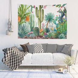 2019 belle decorazioni del panno Bellissimi fiori Cactus Pattern Arazzi Parete Mobili Copriletti Tende Poliestere Soggiorno Decorazione Sfondo Panno belle decorazioni del panno economici