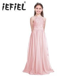 2020 vestiti da damigella d'onore rosa dei capretti Little Girls Kid / bambini Pearl Pink Flower Girl Abiti prima comunione Dress For Wedding Bridesmaid e Birthday Formal Party Y19061501 vestiti da damigella d'onore rosa dei capretti economici