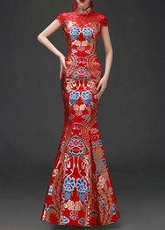 Vestido vermelho vestido de dama de honra on-line-BYEC06 Elegante Estilo Chinês Bordado vestido de Noite bonito Vestido de festa Damas de Honra Vestido Formal Estilo Fino em Vermelho