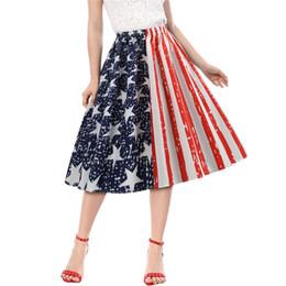 полосатая миди юбка Скидка American National Flag Print Pleated Skirt Women Summer Blue Stars Striped High Waist Knee Length Skater Skirts Lady Saias Midi