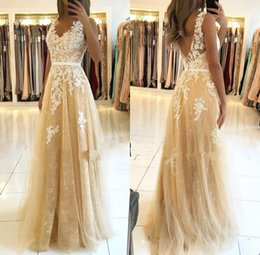 evening dresses lace beige Coupons - Elegant A Line V Neck Evening Dresses with Lace Appliques Gold Prom Party Gown V Cut Back Women Formal Wear BC2130