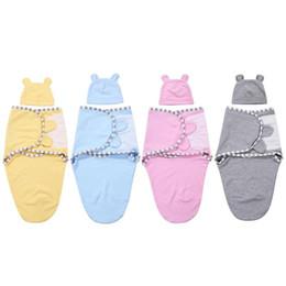 Sacchetti stampati di cotone per ragazza online-2 pz / set 0-3 m Baby Cotton Cap Swaddle Wrap Neonato Coperta Sacchi a pelo Stampato Neonato Neonato Neonate