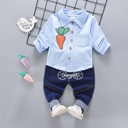 561c863eab139 good quality new spring baby boys clothing sets fashion solid shirt +denim pants  suits toddler boys gentleman wedding party outfits