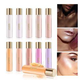 Maquillaje de piel oscura online-Resaltador de larga duración Brillo Efecto de maquillaje de color de piel Impermeable Brillo Sombra de ojos Rubor Cosmético