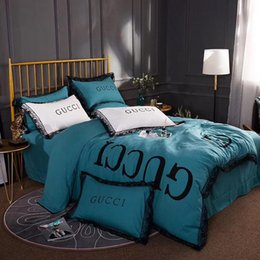 Juego de sábanas de cama coreano online-Envío gratis ruffle juegos de cama princesa coreana 4 unids reina completa king size funda nórdica de encaje negro hoja de cama fundas de almohada