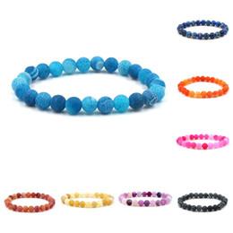 blaue achatsteine Rabatt Achat Stein Armband grau grün orange blau Verwitterung Achate Yoga Chakra Armband Naturstein Perlen Armbänder