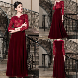 a50d1cf8491 2019 Dark Red Mother Of The Bride Dresses Velvet Lace Appplique Long Sleeve  Ankle Length Plus Size Mothers Party Gowns Vestidos De Noiva