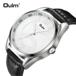 Relógio de discagem oulm on-line-Oulm top fashion casual relógio de quartzo dos homens pulseira de couro número romano dial design simples chique cavalheiro relógios de pulso