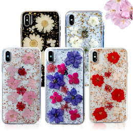 Caso claro iphone x on-line-Flores artesanais reais secas epóxi phone case para iphone x xs max xr 8 7 6 plus clear pc tpu capa à prova de choque