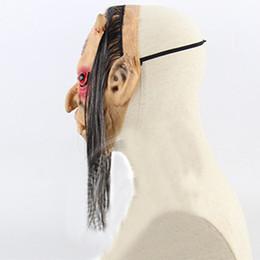 máscara de fantasma rosto cheio Desconto Máscara de Halloween Assustador Fantasma Latex Rosto Cheio Olhos Vermelhos Peruca de Cabelo Longo Máscaras de Horror Masquerade Partido Cosplay Adereços SKD88