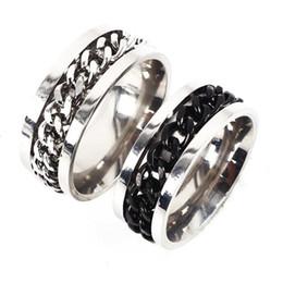 anéis giratórios de aço inoxidável Desconto Corrente popular anel de giro anel de aço titanium homem moda jóias por atacado corrente de aço inoxidável anéis de prata de giro