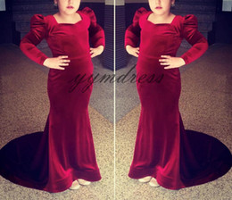 2019 meninas veludo vestido de desfile Vestidos de concurso meninas vermelho escuro 2019 uma linha aberta de volta andar de comprimento de veludo vestidos de aniversário de casamento crianças Formal desconto meninas veludo vestido de desfile