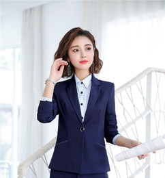 professional clothing style Promo Codes - Novelty Blue Formal Long Sleeve Women Blazers Jackets Coat Uniform Styles Ladies Office Professional Outwear Tops Blaser Clothes