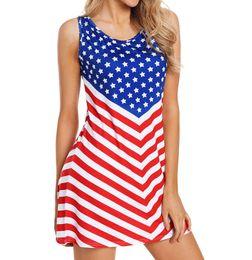 vestidos de praia emagrecedor Desconto Bandeira americana Imprimir Mulheres Vestido de Verão Dia da Independência Sem Mangas Casuais Listrado Fino Apertado Vestido de Praia mulheres vestido