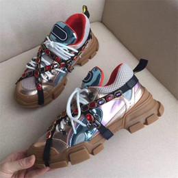 Sandali ad altezza crescente online-NEW Deigner Donna Uomo Flashtrek cristalli rimovibili Sandali casuali Lace Up Patchwork Altezza crescente Escursioni Sneakers all'ingrosso con scatole