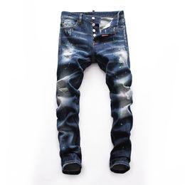 Moda homens ponto jeans on-line-19 HIP personalidade Buracos Novos Pierced Jeans Blue Point Moda Jeans Masculinos Penetrante Hop DN