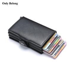 Billetera de protección online-Sólo marca Belong Antirrobo rfid metal hombre ID de crédito titular de la tarjeta de visita billetera cubierta de aluminio para protección de cartera Cuero