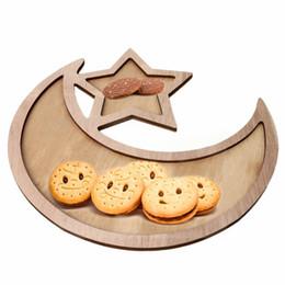 2019 platos de horno de cerámica Islam Eid Ramadan Mubarak Snack Decoración Rústico Sencillo De Madera Creciente Luna Estrella Eid Ramadan Cocina Comida Bandeja de servicio