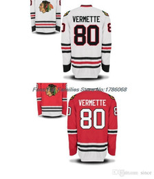 Canada Factory Outlet, Maillots de hockey sur glace Blackhawks de Chicago pour hommes # 80 Maillot Antoine Vermette Domicile Rouge Route Blanc Authentique Jersey Cousu, S cheap ice hockey outlet Offre