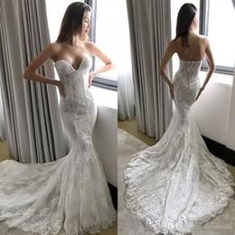 2019 abiti da sposa backless in corsetto di pizzo Abiti da sposa a sirena in pizzo Pallas Couture Plus Abiti da sposa senza schienale taglia Sweep Train robe de Wedding Dress