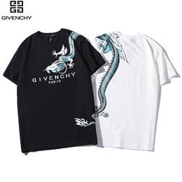 T-shirt heiße modell frauen online-2019 neue heiße Männer und Frauen Modelle Sommer Rundhals Baumwolle zweifarbig Drachen Großbuchstaben Druck Paar Kurzarm-T-Shirt