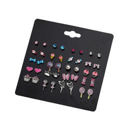 20 paires / lot Kids Stud Earring Set pour filles belles fruits animaux oreille goujons hibou champignon feuille coeur coccinelle Apple bijoux ? partir de fabricateur