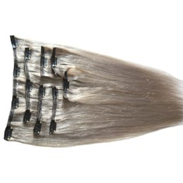 clips indiens chauds Promotion Ventes chaudes Argent Gris Extensions de Cheveux Vierge Indienne Droite Cheveux Remy 120g Clip Dans Extensions De Cheveux Humains Gris Clips Extensions 18