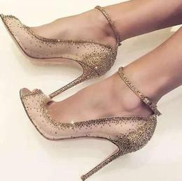 a04455c2436bb7 Charming Golden Glittering Kristall Stiletto Heels Pumps Phantasie Mesh  Spitze Peep Toe Schuhe Concise Frauen Linie Schnalle Stil Schuhe