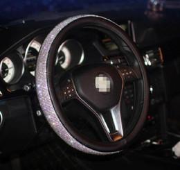 Руль кожаный руль онлайн-Алмаз искусственная кожа автомобиля руль обложка Кристалл Rhinestone автомобилей колеса обложка для женщин девушка авто decoration38CM