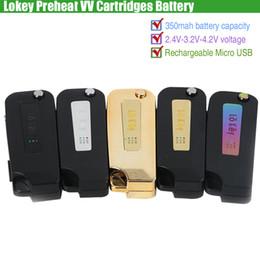 Chargeur en Ligne-Lokey Preheat VV Cartouches Batterie Lo Key 350mAh Tension Variable Préchauffage Flip Vape Mod USB Chargeur 510 Thick Oil O Pen ecigs Vaporisateurs