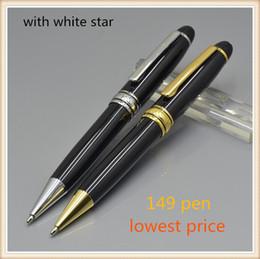 Price writing pens online-Precio más bajo Buena Calidad Clásico MB 149 negro bolígrafo oficina útiles escolares marca Metal escribir bolígrafos para el regalo del estudiante Promoción