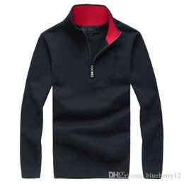 herren poloshirts designs Rabatt Gestricktes Polohemd 5 Farben eingebrannt Herren Polos Zipper Design Gestickte Langarm-Pullover für Herbst