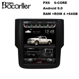 Vídeo azul chinês on-line-PX6 android 9.0 car dvd multimedia for Dodge RAM 1500 with Radio GPS Video WiFi AC control