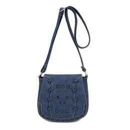 Argentina Bolso bandolera de cuero para mujer Boho Bolso Messenger para mujer Bolso Crossbody Azul oscuro cheap soft leather handbags blue Suministro