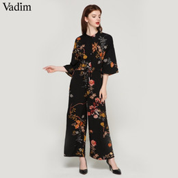 8c487f9c0ade Vadim Women Vintage Floral Jumpsuits Wide Leg Pants Bow Tie Belt Elastic  Waist Pockets Rompers Female Chic Playsuits Kz1175 Q190428