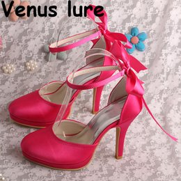 sandalia fucsia Rebajas (22 colores) Correa de tobillo para mujer Sandalias con punta cerrada Fuchsia Satin Summer Shoes