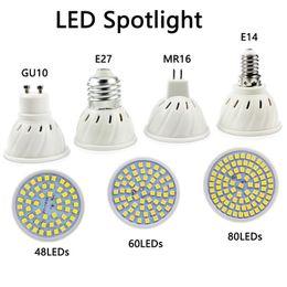 cores led mr16 Desconto Holofotes LED E27 E14 MR16 GU10 Base 120 ° Ângulo de Feixe de Lâmpada de Luz 48 60 80LEDs para Accent Light Light Track Cozinha Casa